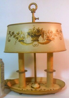 VTG FRENCH  TOLE BOUILLOTTE Candlestick Lamp Louis XVI Flower Basket Country