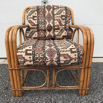 vintage mid century rattan lounge chair triple strand bamboo southwest Aztec