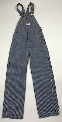 Boys Round House Railroad Blue & White Stripes Overalls Youth Size 10 USA Made
