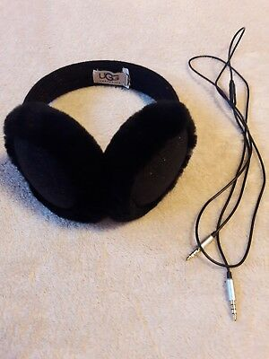 UGG Women's Black Wired Knit Crochet Earmuff with a Real Fur from Sheep $75.