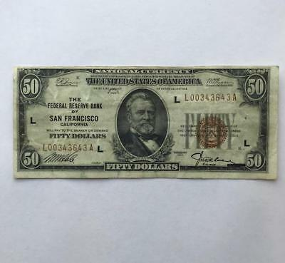 Ungraded 50$ Paper Bill. 1929..!! NR.!!