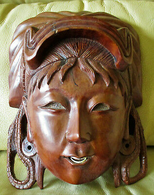 Antique China Chinese Goddess Woman Face Carved Wood Wall Mask