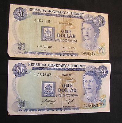 1975 & 1982 Bermuda $1 Notes