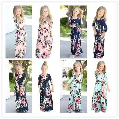 1-8T Toddler Girl Floral Dress Long Sleeve Summer Long Maxi Dress Beach Sundress