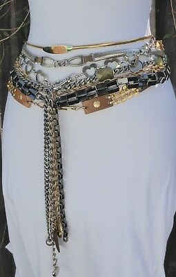Seven Different Style,Size & Shape Vtg-Now Silver & Gold Tone Metal Chain Belts