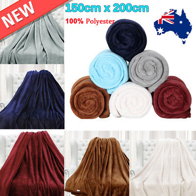 150cmx200cm Large Flannel Blanket Throw Rug Cozy Plush Couch Sofa 100% Polyester