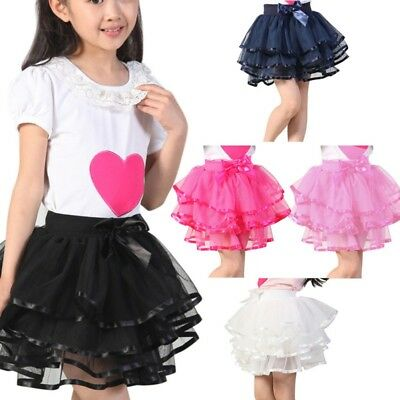 US Toddler Girl Tutu Skirt Dress Multi-Layers Bow-knot Dance Dress Costume 2-13Y