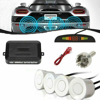 Parking 4 Sensors Car Reverse Backup Rear Buzzer Radar System Sound Alarm White