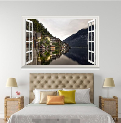 3D River House 7 Open Windows WallPaper Murals Wall Print Decal Deco AJ WALL