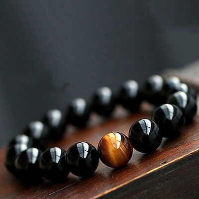 1PC Men's Women's Jewelry Agate Tiger Eye Beads Bangle Bracelet New Arrival