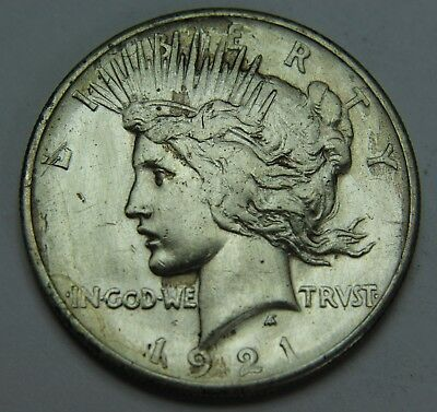 1921 Peace 90% Silver Dollar Key Date High Relief $1 Old US Coin P2R H030