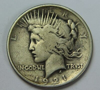 1921 Peace 90% Silver Dollar Key Date High Relief $1 Old US Coin P2R H031