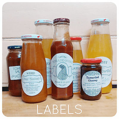 100 x Personalised Jam HONEY Labels sticky STICKERS ROUND CIRCLE jars wedding