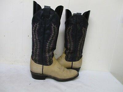 68c402b7a20 LARRY MAHAN CREAM Leather Cowboy Western Boots Women's Size 5 B USA