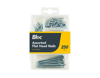 250 Assorted Nails Pack Zinc Plated Flat Head DIY Hammer Different Size Nail Tak