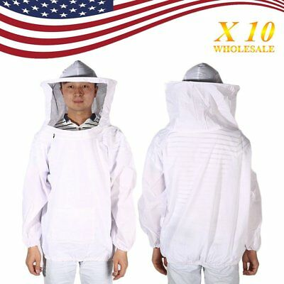 10X X-Large Beekeeping Bee Keeping Suit Jacket Pull Over Smock with Veil XL H1