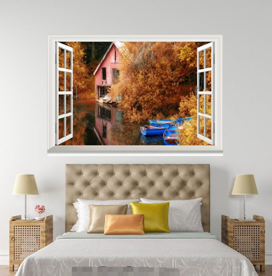 3D Autumn House 701 Open Windows WallPaper Murals Wall Print Decal Deco AJ WALL