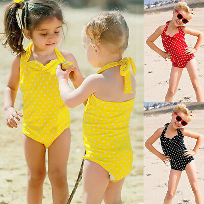 Toddler Kids Baby Girls Dots Swimwear Bathing Bikini Brief Set Outfits Swimsuit