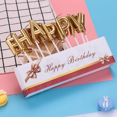 HAPPY BIRTHDAY Letter Candle Cake Topper Decor Baking Gift Party Decoration