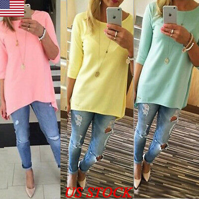 US Plus Size Fashion Womens Loose Pullover T Shirt Long Sleeve Cotton Tops Shirt