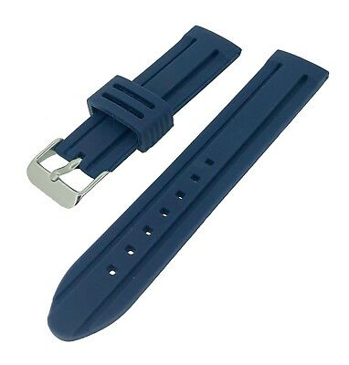 Navy Blue Divers Rubber Silicone Waterproof Watch Strap 18/20/22/24/26mm