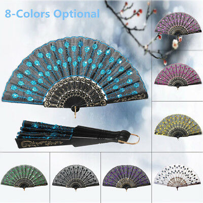 Faltbare Peacock Pattern Hand Fan Hochzeit Party Dekoration  Pailletten Stoff