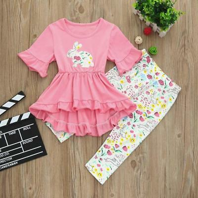 Toddler Kids Baby Girls Flower Tops+Pants Leggings 2Pcs Outfits Set Clothes