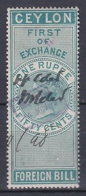 Ceylon Great Britain 1880S First Of Exchange Foreign Bill 1R50C Revenue Stamps