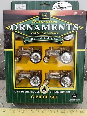 John deere model a silver Tractor ornament set of 6 new Free ship party tree htf