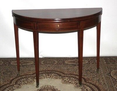 Edwardian Inlaid Mahogany Demi Lune Console Table - FREE Shipping [PL4391]