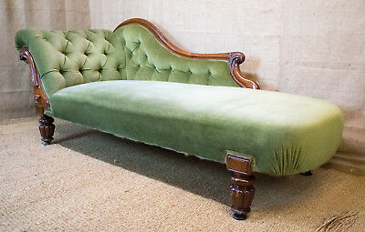 Victorian chaise longue, mahogany frame, green, button back, scroll arms