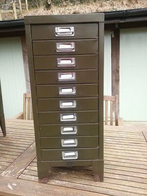 Old Vintage Shabby Chic Green Small Metal Filing Cabinet 10 Drawer