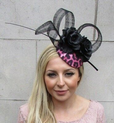 Black Hot Pink Leopard Print Flower Feather Hat Hair Fascinator Rockabilly 5658