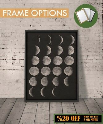 MOON PHASES POSTER Vintage Sky Astrology Wall Art Print Home Decor A3/A4 +FRAMES
