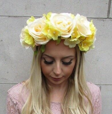 Large Lemon Light Yellow Hydrangea Rose Flower Garland Headband Hair Crown 5662