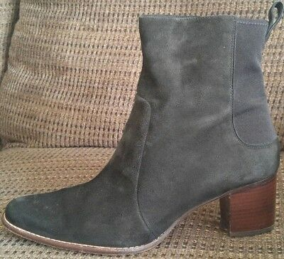 Timberland Black Suede Leather Chunky Block Heels Zip Up WOMENS Boots Sz 9 W