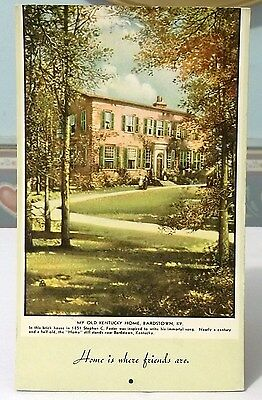STEPHEN FOSTER OLD KENTUCKY HOME INK BLOTTER BARDSTOWN 1940s 6-1/2 x 4""