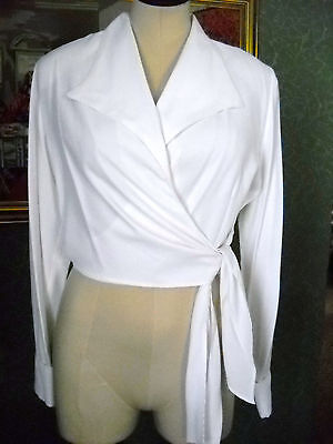 White Tie-Front Blouse Size Small, Made In The Usa