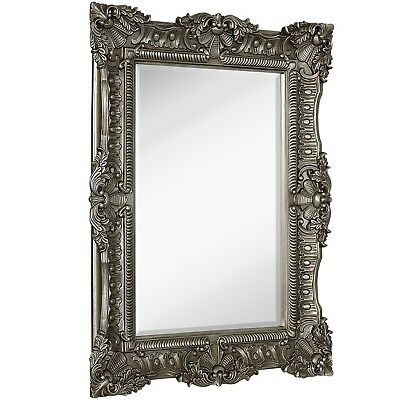 Large Ornate Antique Silver Pewter Baroque Frame Mirror | Aged Luxury | Elega...