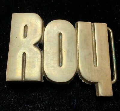 Vintage 1970's 1978 Name ROY Solid Brass Belt Buckle Baron BBB