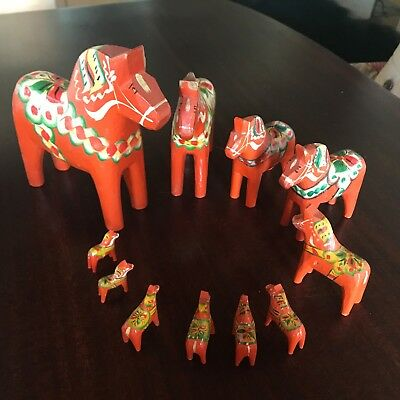 Set  of 11 Vintage Dala Horses Mora Horse Made In Sweden