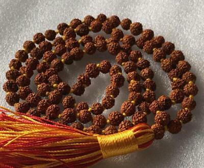 Natural linden wood 108 red and yellow 8mm Necklace prayer meditation yoga