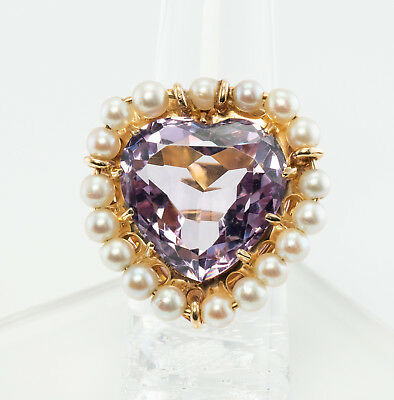 Heart Amethyst Pearl Ring Huge Cocktail 14K Yellow Gold Vintage