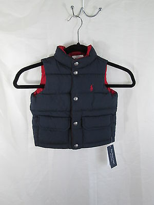 Ralph Lauren POLO Infant Down Puffer Vest Reversible Navy/Red NWT 12 Months $100