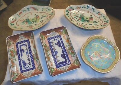 6 Antique Oriental Footed Dishes Chinese Dragon Painted Scenes Trays