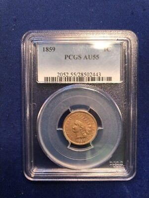 1859 Indian Head Cent : PCGS AU55