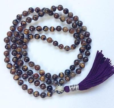 8MM Natural RED Tiger eye gemstones Mala knotted Necklace Buddhist Prayer Beads