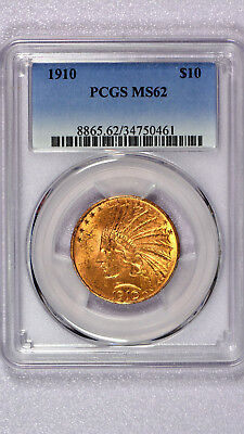 PCGS graded 1910 GOLD Indian Head Eagle $10 Coin CERTIFIED MS 62