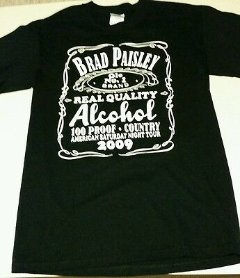 Brad Paisley 2009 American Saturday Night Tour T-Shirt Alcohol The Best....Sz SM