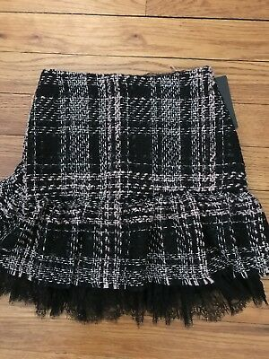 Nwt Zara Basic Collection Combined Lace And Tweed Skirt Size Small